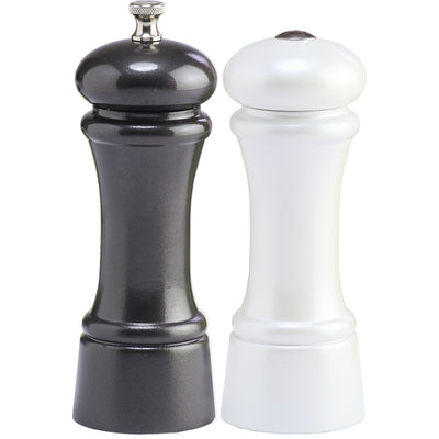 6 Inch Elegance Gunmetal Metallic Pepper Mill and Pearl Metallic Salt Shaker Set 06900