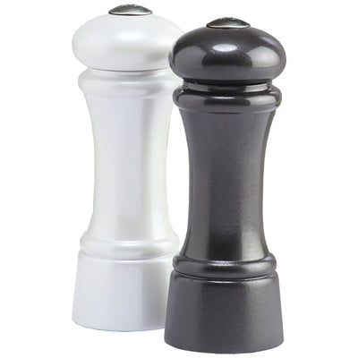 6 Inch Gunmetal Metallic Pepper Shaker and Pearl Metallic Salt Shaker 06956