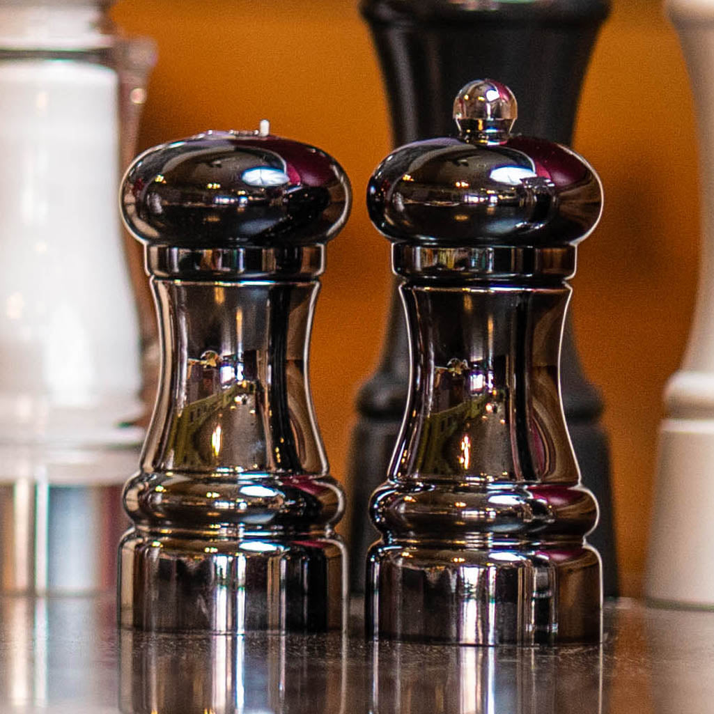 "Chef Specialties 4.25"" Midnight Chrome Pepper Mill & Shaker Set"