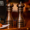 90070 7 Inch Acrylic Burnished Copper Pepper Mill & Shaker Set, Table View