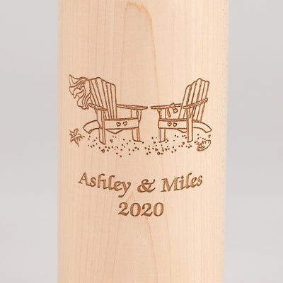 14.5 Inch Natural Wine Bottle Pepper Mill with Personalized Adirondack Chair Design, Close up