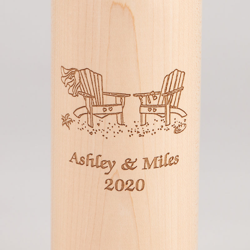 14.5 Inch Natural Wine Bottle Pepper Mill with Personalized Adirondack Chair Design