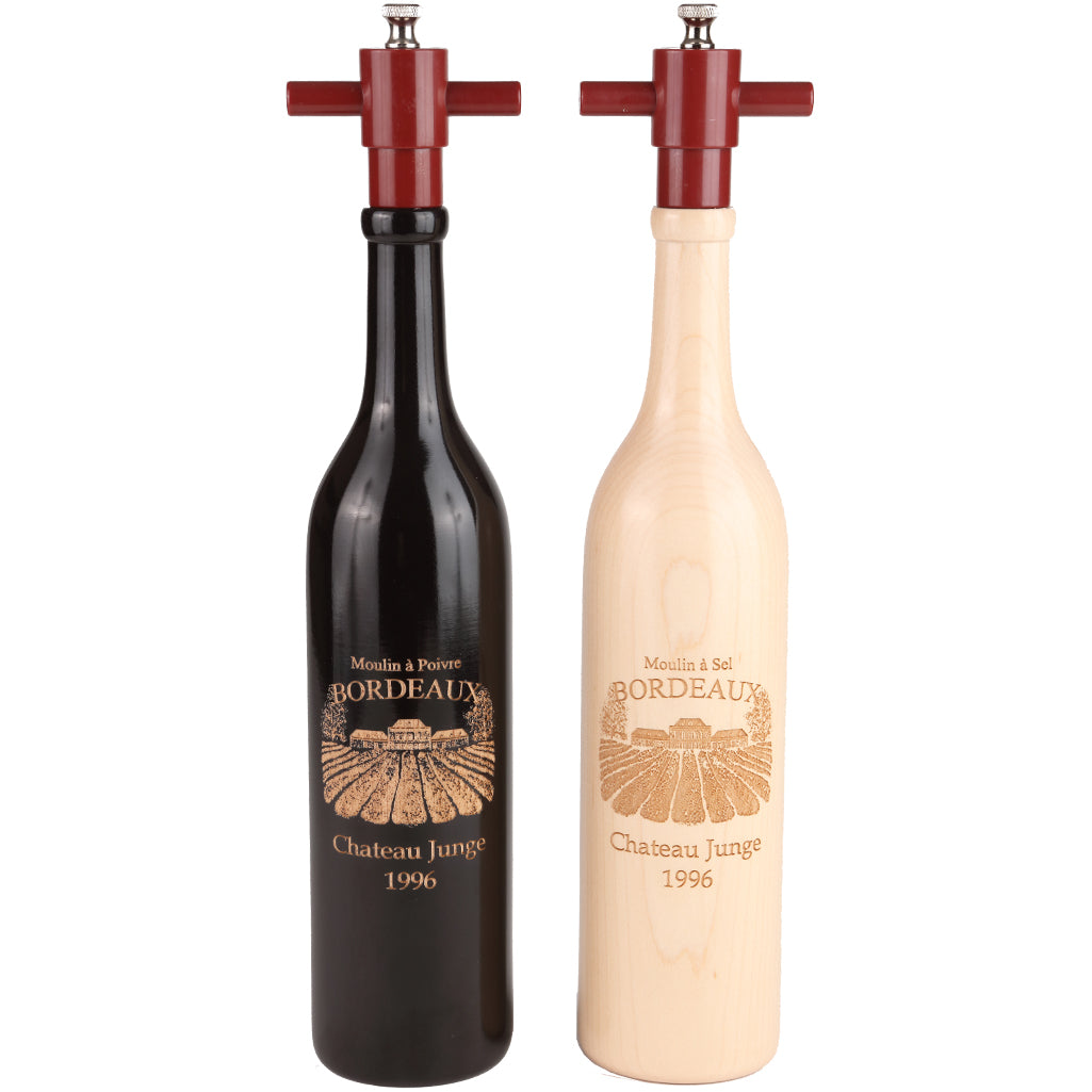14.5 Inch Ebony and Natural Wine Bottle Set with Personalized Bordeaux Design