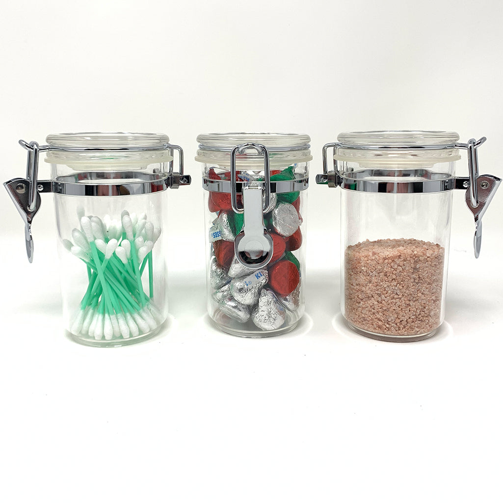 3-Piece Acrylic Canister Set with Airtight Clamp Lids, Food Storage Container