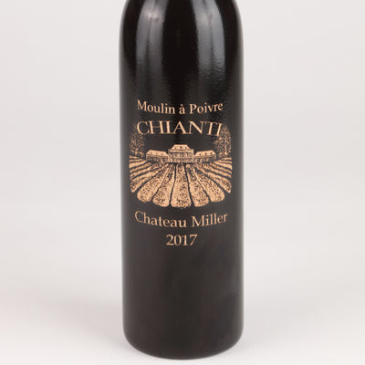 14.5 Inch Ebony Wine Bottle Pepper Mill with Personalized Chianti Design, Close up