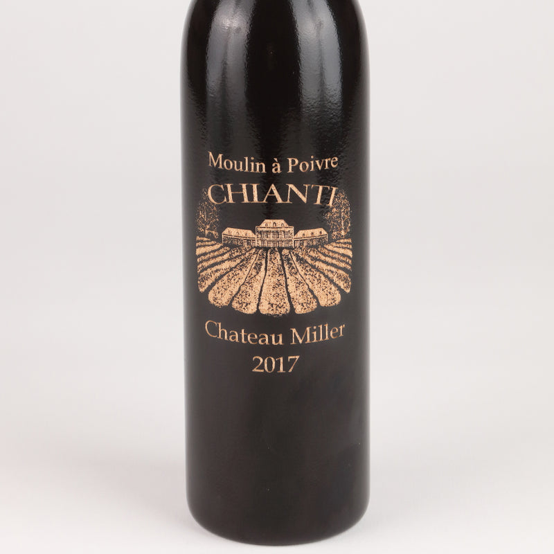 14.5 Inch Ebony Wine Bottle Pepper Mill with Personalized Chianti Design