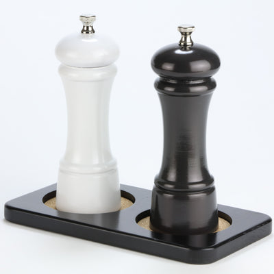 Double Coaster Tray for Pepper Mills, Salt Mills, and Shakers. Shown with Optional 6 Inch Mill Set (6902).