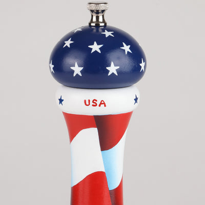 10 Inch Hand Painted Pepper Mill with American Flag Theme, Top View
