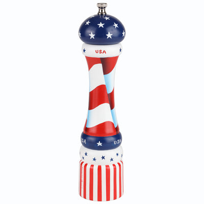 10 Inch Hand Painted Pepper Mill with American Flag Theme