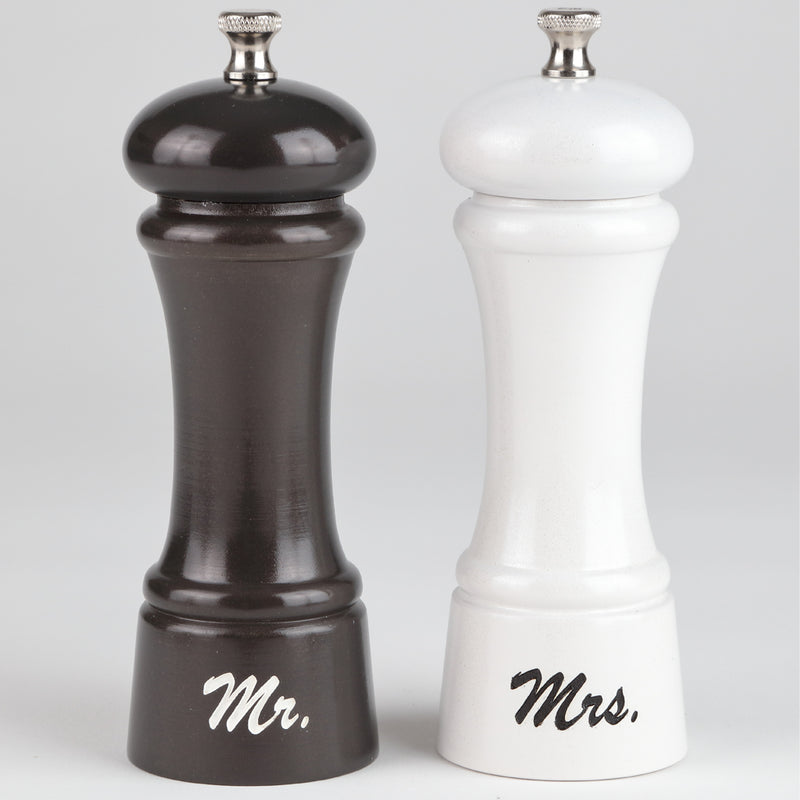 6 Inch Elegance Gunmetal Pepper Mill and Pearl Salt Mill Set with Mr. and Mrs. Design