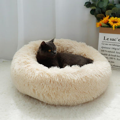 Lux Long Plush Soft Round Bed - Idealpaws