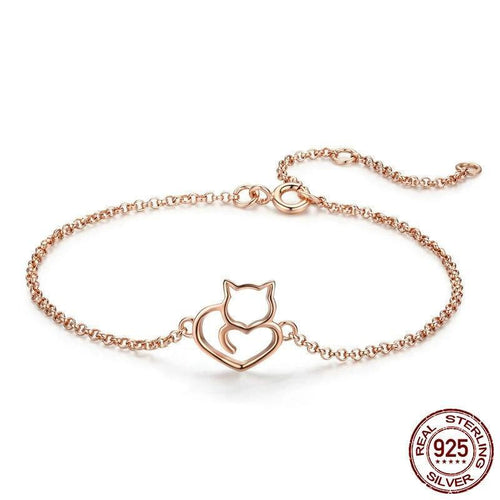 Authentic Sterling Silver Cat And Heart Link Chain Bracelet - Idealpaws