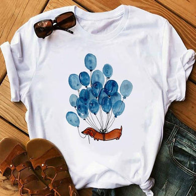 Dachshund Flying With Balloons T-Shirt - Idealpaws