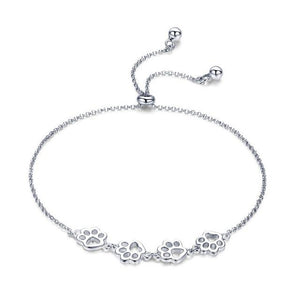 Authentic Sterling Silver Paw Prints Chain Bracelet - Idealpaws
