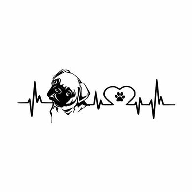 Lovely Pug Dog Heartbeat Car Sticker - Idealpaws