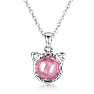 Authentic Sterling Silver Cat Ear Stone Necklace - Idealpaws