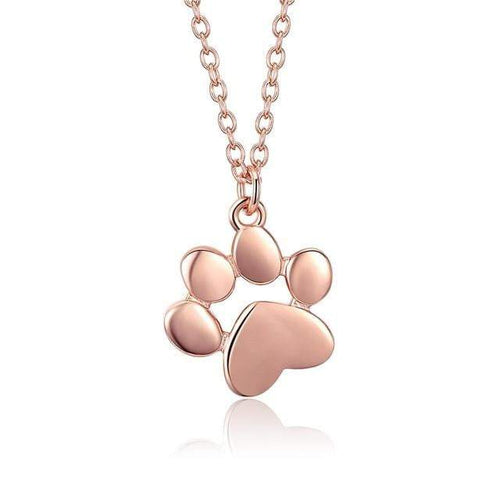 Authentic Silver & Rose Gold Color  Dog Cat  Paw Necklace - Idealpaws