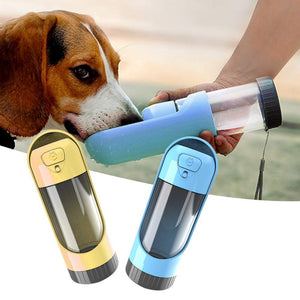 Travelling Pet Feeding Water Bottle with Carbon Filter - Idealpaws