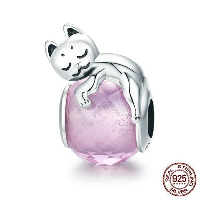 Authentic 100% Sterling Silver Cat Crystal Stone Charm For Women Bracelet - Idealpaws