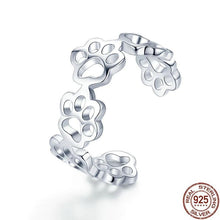Load image into Gallery viewer, Authentic Sterling Silver Cat And Dog Paw Trail Ring - Idealpaws