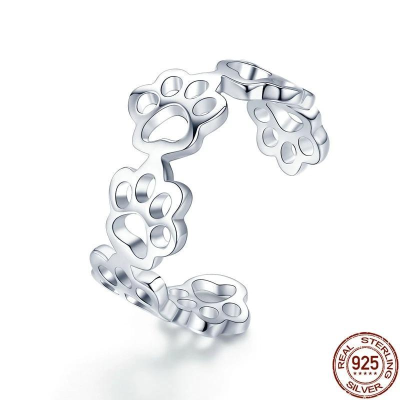Authentic Sterling Silver Cat And Dog Paw Trail Ring - Idealpaws