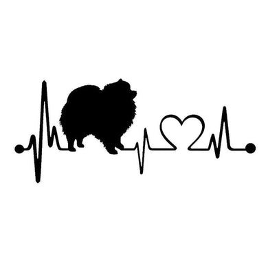 Pomeranian Heartbeat Dog Car Sticker - Idealpaws
