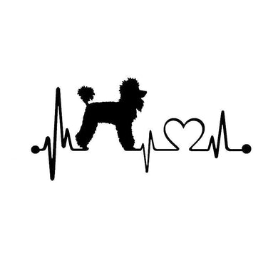 Poodle Heartbeat Dog Car Sticker - Idealpaws