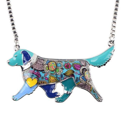 Enamel Golden Retriever Necklace - Idealpaws