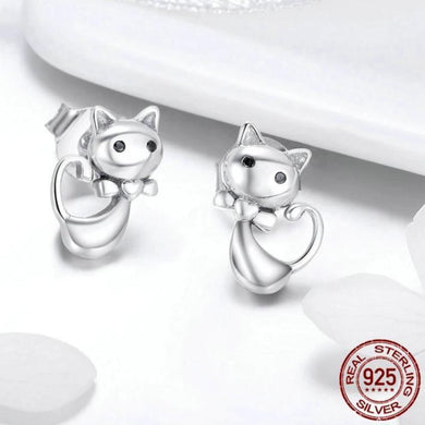 Authentic Sterling Silver Sticky Cat Small Stud Earrings - Idealpaws