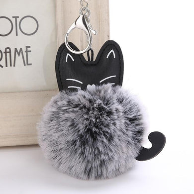 Lovely Cartoon Cat Fluffy Fur Ball Key Chain - Idealpaws