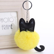 Load image into Gallery viewer, Lovely Cartoon Cat Fluffy Fur Ball Key Chain - Idealpaws