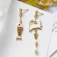 Load image into Gallery viewer, Cat And Fish Bone Earrings - Idealpaws