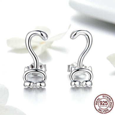 Authentic Sterling Silver Kitten Long Tail Stud Earrings - Idealpaws