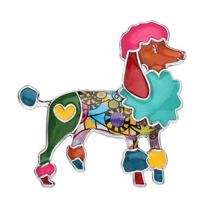 Enamel Alloy Floral Poodle Brooch - Idealpaws