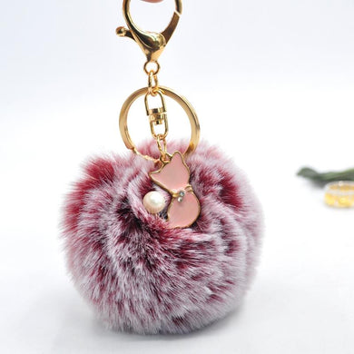 Pom Pom Faux Rabbit Fur Cat Key Chain - Idealpaws