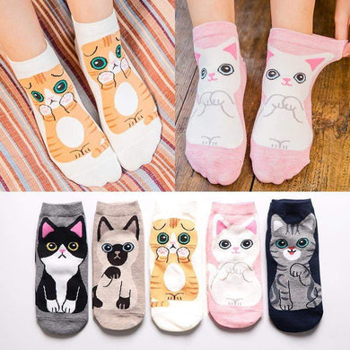 5Pairs Women Fashion Ankle Cat Socks - Idealpaws