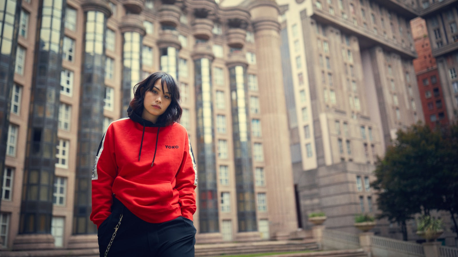 hoodie rouge collection basic Yoko