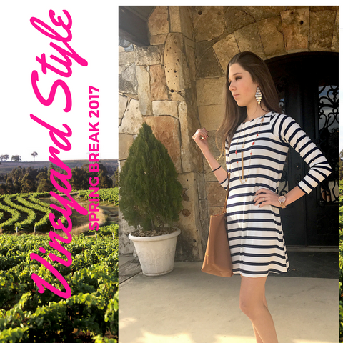 Spring break vineyard/winery style 2017, yala dress, layered jewelry