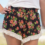 Black Blooms Lounge Shorts | Womens Bottoms | On A Branch Boutique