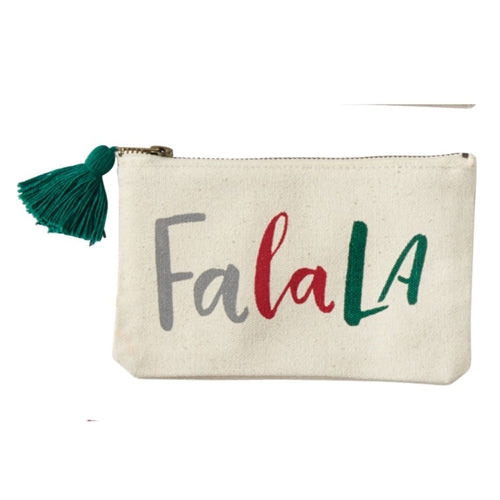 Fa La La Canvas Pouch | Christmas | On A Branch Boutique