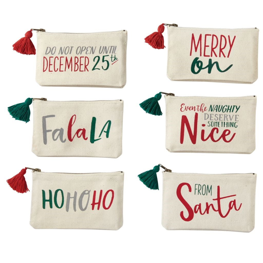 Christmas Canvas Pouches | On A Branch Boutique