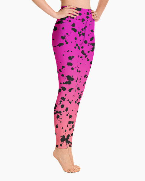 Black Splat Yoga Leggings
