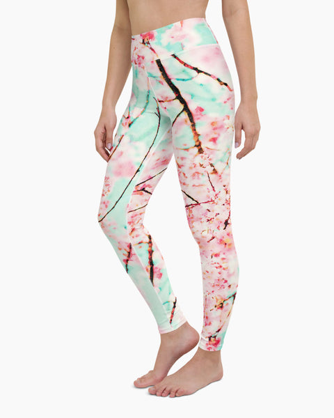 Watercolor Cherry Blossoms Yoga Leggings