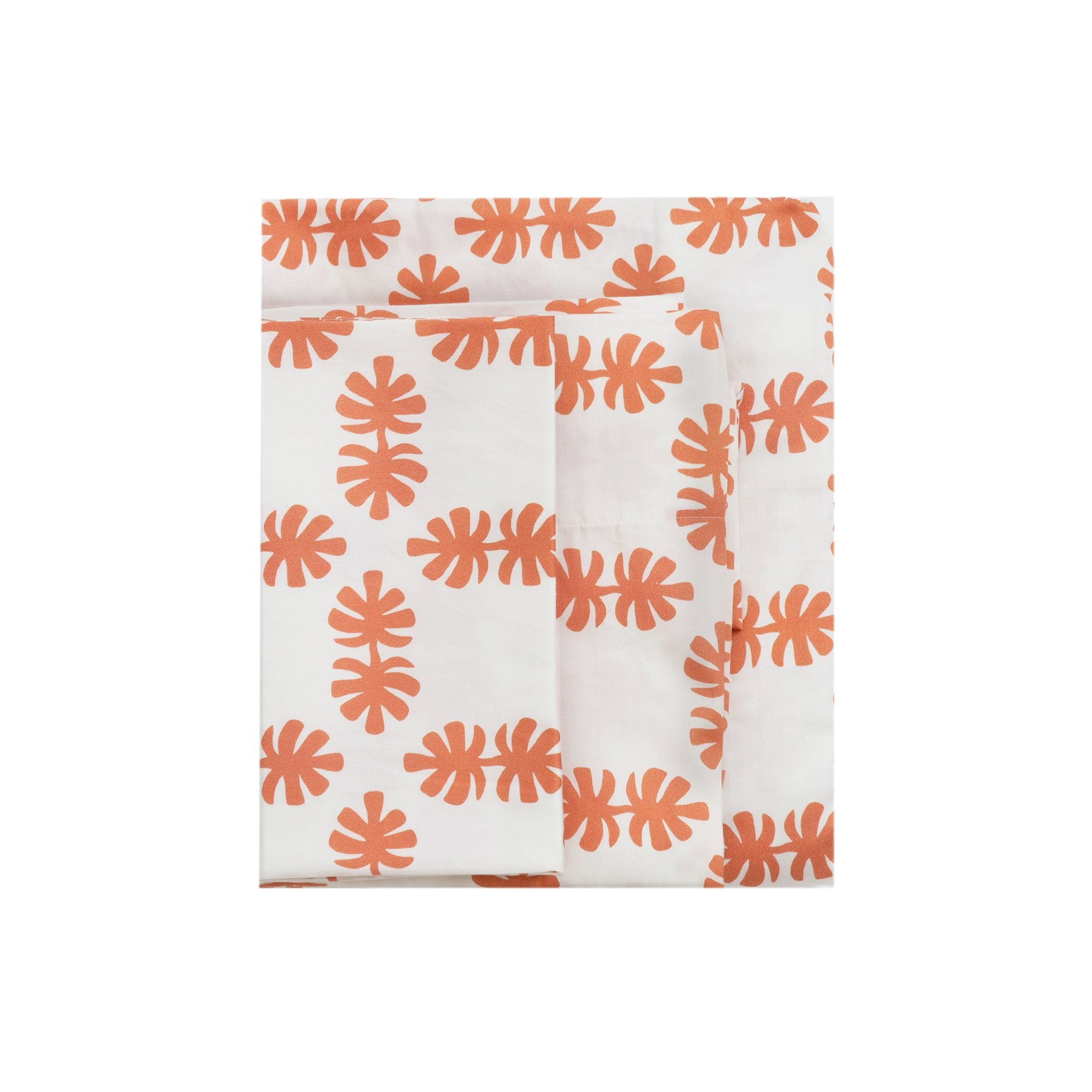 Kikau's Coral Orange Coco Palm kids sheet set on white background