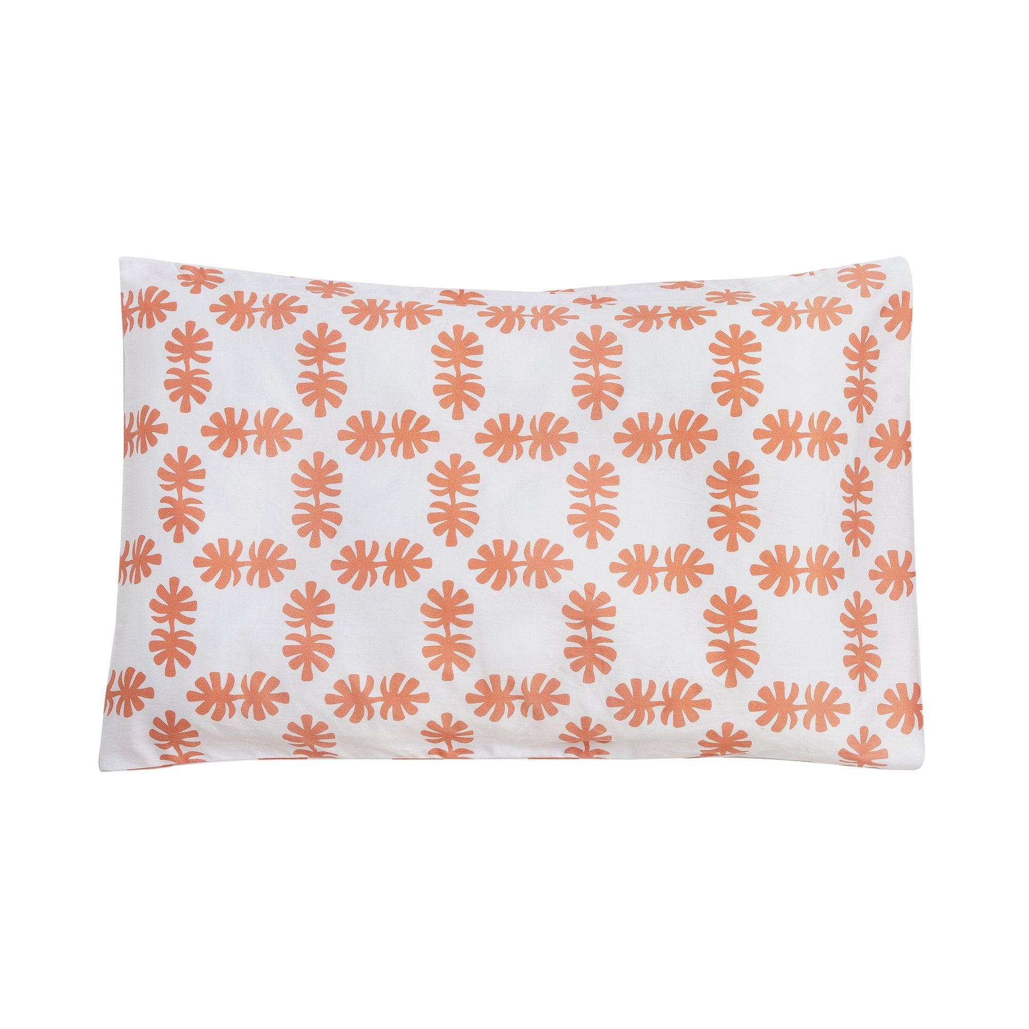 Kikau's Coral Orange Coco Palm kids pillowcase on white background