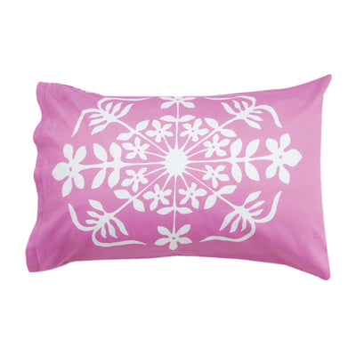 Kikau's Fruity Frangipani Pink kids pillowcase on white background
