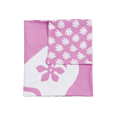 Kikau's Fruity Frangipani Pink kids quilt cover set on white background