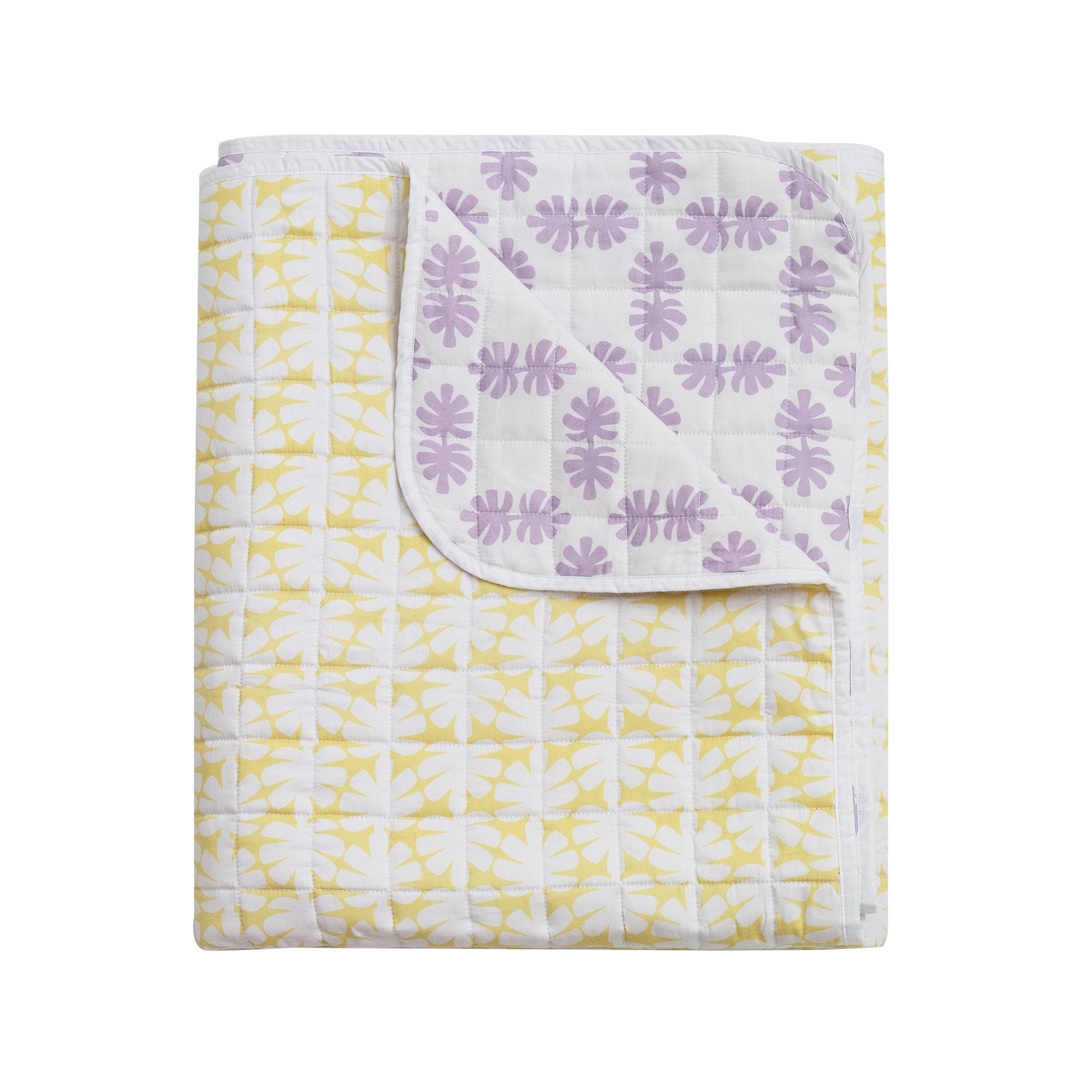 Kikau's Lemon and Lilac Coconut Palm Quilted Bedspread on white background