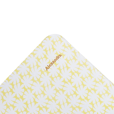 Kikau's Mango Yellow Coco Palm kids fitted sheet on white background personalised