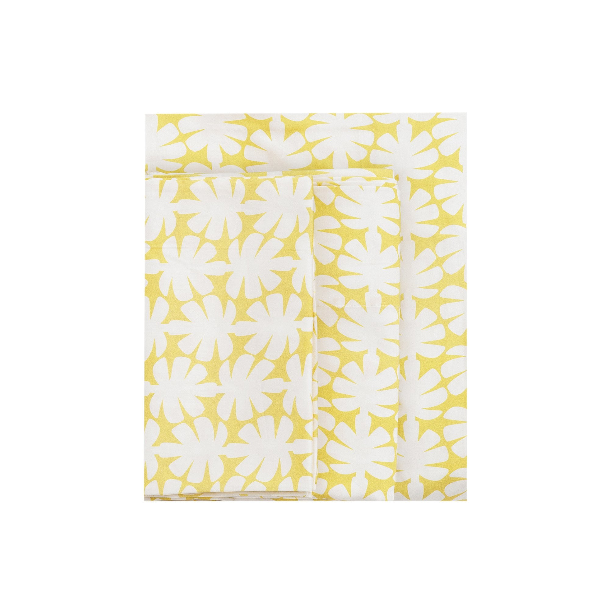 Kikau's Lemon Yellow Coconut Palm kids sheet set on white background
